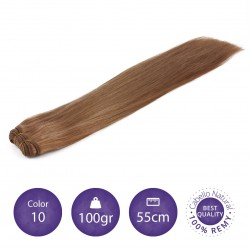 Color 10 rubio medio - Cabello cosido liso 100gr 55cm largo
