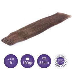 Color 6 castaño claro - Cabello cosido liso 100gr 55cm largo