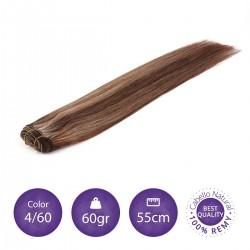 Color 6/24 castaño claro con rubio claro - Cabello cosido liso 60gr 55cm largo