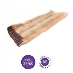 Color 27/60 Rubio Dorado y Rubio Platino - Extensiones Flip Hair lisas 55cm largo 23cm ancho