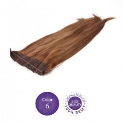 Color 6 Castaño Claro - Extensiones Flip Hair lisas 55cm largo 23cm ancho
