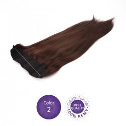 Color 2 Castaño Oscuro - Extensiones Flip Hair lisas 55cm largo 23cm ancho