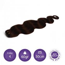 Color 4 chocolate - Cabello cosido ondulado 60gr 50cm largo