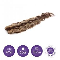 Color 4/60 castaño chocolate con rubio platino - Cabello cosido ondulado 60gr 50cm largo