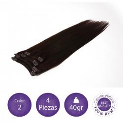 Color 2 castaño oscuro - Extensiones clip lisas 4 piezas 40gr