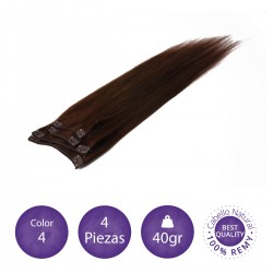 Color 4 chocolate - Extensiones clip lisas 4 piezas 40gr