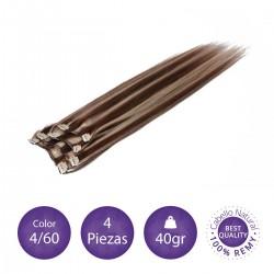 Color 4/60 castaño chocolate con rubio dorado - Extensiones clip lisas 4 piezas 40gr