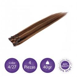 Color 4/27 chocolate con rubio dorado - Extensiones clip lisas 4 piezas 40gr