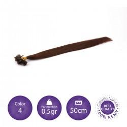Extensiones keratina 0'5 gr/mechón 50cm largo color 4 chocolate