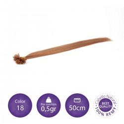 Extensiones keratina 0'5 gr/mechón 50cm largo color 18 rubio claro ceniza