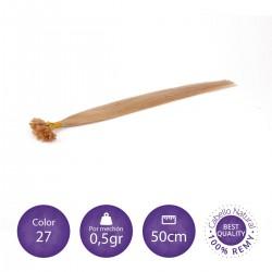 Extensiones keratina 0'5 gr/mechón 50cm largo color 27 rubio dorado