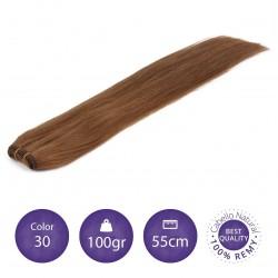 Color 30 rubio cobrizo - Cabello cosido liso 100gr 55cm largo