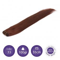 Color 33 cobrizo avellana - Cabello cosido liso 100gr 55cm largo