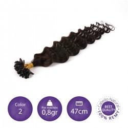 Color 2 castaño oscuro - Extensiones keratina rizadas 0,8gr/mechón 47cm largo