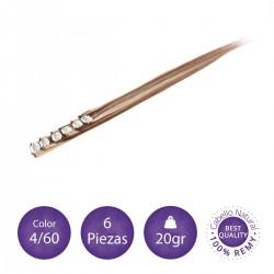 Extensiones clip 6 piezas 20 gr color 4/60 castaño chocolate con rubio platino