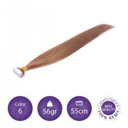 Extensiones adhesivas lisas 55cm largo color 6 castaño claro