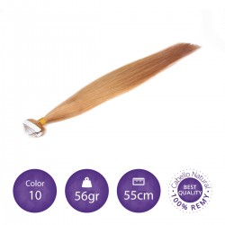 Extensiones adhesivas lisas 55cm largo color 10 rubio medio