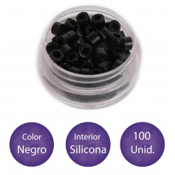 100 Anillas micro-ring con interior de silicona COLOR NEGRO