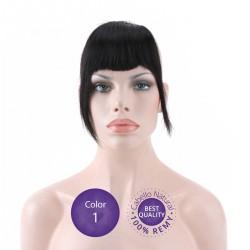 Color 1 Negro - Flequillo postizo cabello natural