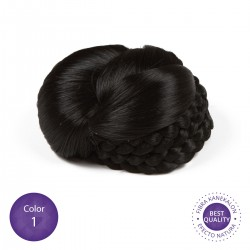 Color 1 Negro - Moño postizo con trenza