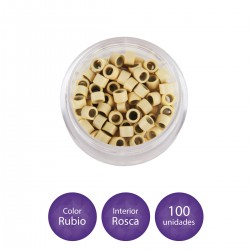 100 Anillas micro-ring con rosca interior color rubio