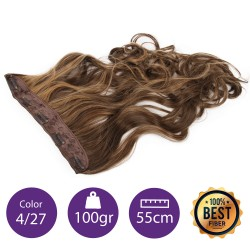 Extensiones de fibra resistentes al calor Cabello Rizado Color nº4/27 (Castaño/Rubio Dorado ) 100gr, 55cm.