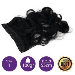 Extensiones de fibra resistentes al calor Cabello Rizado Color nº1 (Negro) 100gr, 55cm.