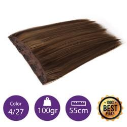 Extensiones de fibra resistentes al calor Cabello liso Color nº4/27 (castaño/rubio dorado) 100gr, 55cm.