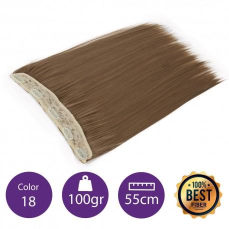 Extensiones de fibra resistentes al calor Cabello liso Color nº18 (Rubio claro ceniza) 100gr, 55cm.