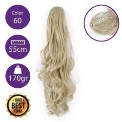 Coletero de fibra resistente al calor, cabello Rizado 55 cm largo 170gr COLOR 60 ( Rubio Platino )