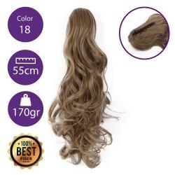 Coletero de fibra resistente al calor, cabello Rizado 55 cm largo 170gr COLOR 18 (Rubio Ceniza)