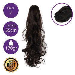 Coletero de fibra resistente al calor, cabello Rizado 55 cm largo 170gr COLOR 2 ( Castaño Oscuro)