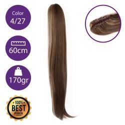 Coletero de fibra resistente al calor, cabello liso 60 cm largo 170gr COLOR 4/27 ( Castaño/ Rubio Dorado )