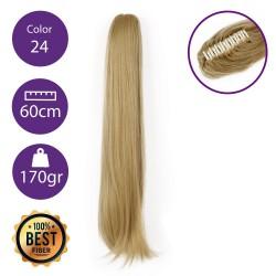 Coletero de fibra resistente al calor, cabello liso 60 cm largo 170gr COLOR 24 ( Rubio CLaro Dorado )