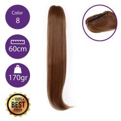 Coletero de fibra resistente al calor, cabello liso 60 cm largo 170gr COLOR 8 (Rubio Medio Dorado)
