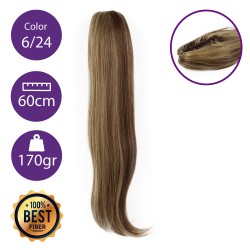 Coletero de fibra resistente al calor, cabello liso 60 cm largo 170gr COLOR 6/24 ( Castaño Claro/ Rubio Claro dorado )