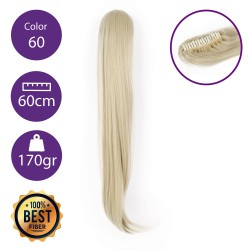 Coletero de fibra resistente al calor, cabello liso 60 cm largo 170gr COLOR 60 (Rubio Platino)