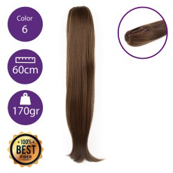 Coletero de fibra resistente al calor, cabello liso 60 cm largo 170gr COLOR 6 ( Castaño Claro )