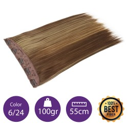 Extensiones de fibra resistentes al calor Cabello liso Color nº6/24 (castaño claro/rubio claro) 100gr, 55cm.