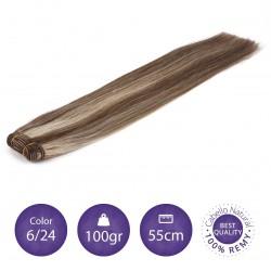 Color 6/24 castaño claro con rubio claro - Cabello cosido liso 100gr 55cm largo