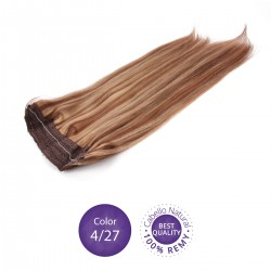 Color 4/27 Chocolate y Rubio Dorado - Extensiones Flip Hair lisas 55cm largo 23cm ancho