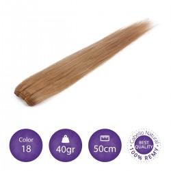 Color 18 rubio claro ceniza - Cabello cosido liso 40gr 50cm largo