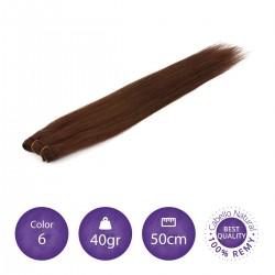 Color 6 castaño claro - Cabello cosido liso 40gr 50cm largo