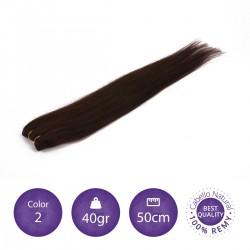 Color 2 castaño oscuro - Cabello cosido liso 40gr 50cm largo