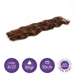 Color 4/27 chocolate con rubio dorado - Cabello cosido ondulado 60gr 50cm largo