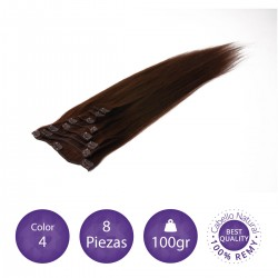 Color 4 chocolate - Extensiones clip lisas 8 piezas 100gr