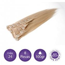 Color 24 rubio claro dorado - Extensiones clip lisas 8 piezas 100gr