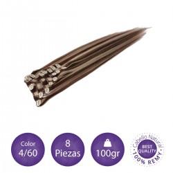 Color 4/60 castaño chocolate con rubio platino - Extensiones clip lisas 8 piezas 100gr
