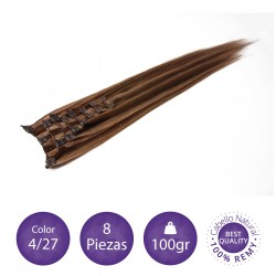 Color 4/27 chocolate con rubio dorado - Extensiones clip lisas 8 piezas 100gr