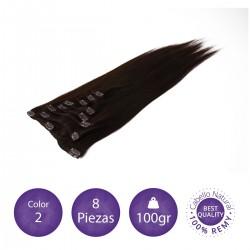 Color 2 castaño oscuro - Extensiones clip lisas 8 piezas 100gr